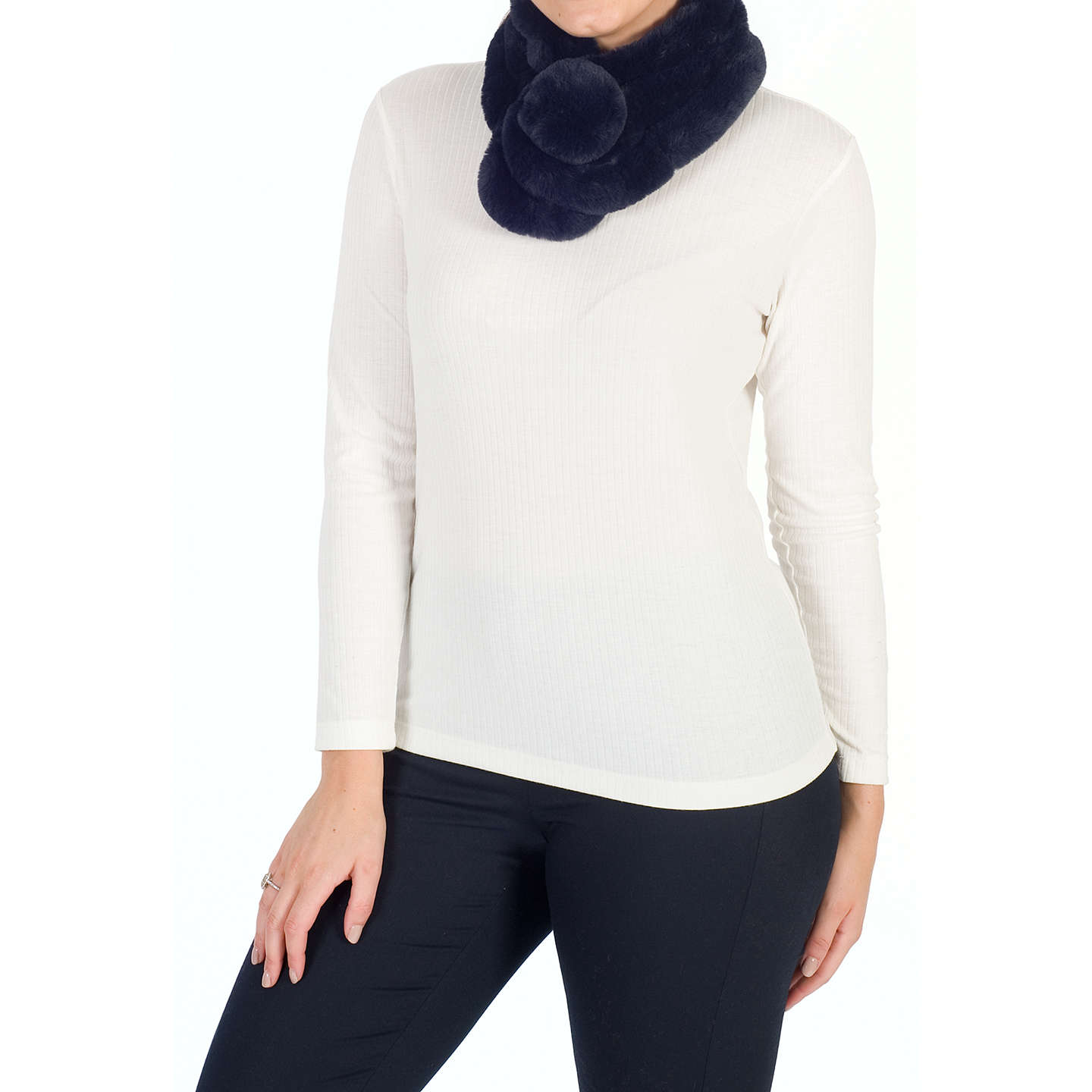 BuyChesca Knitted Faux Fur Collar, Navy Online at johnlewis.com