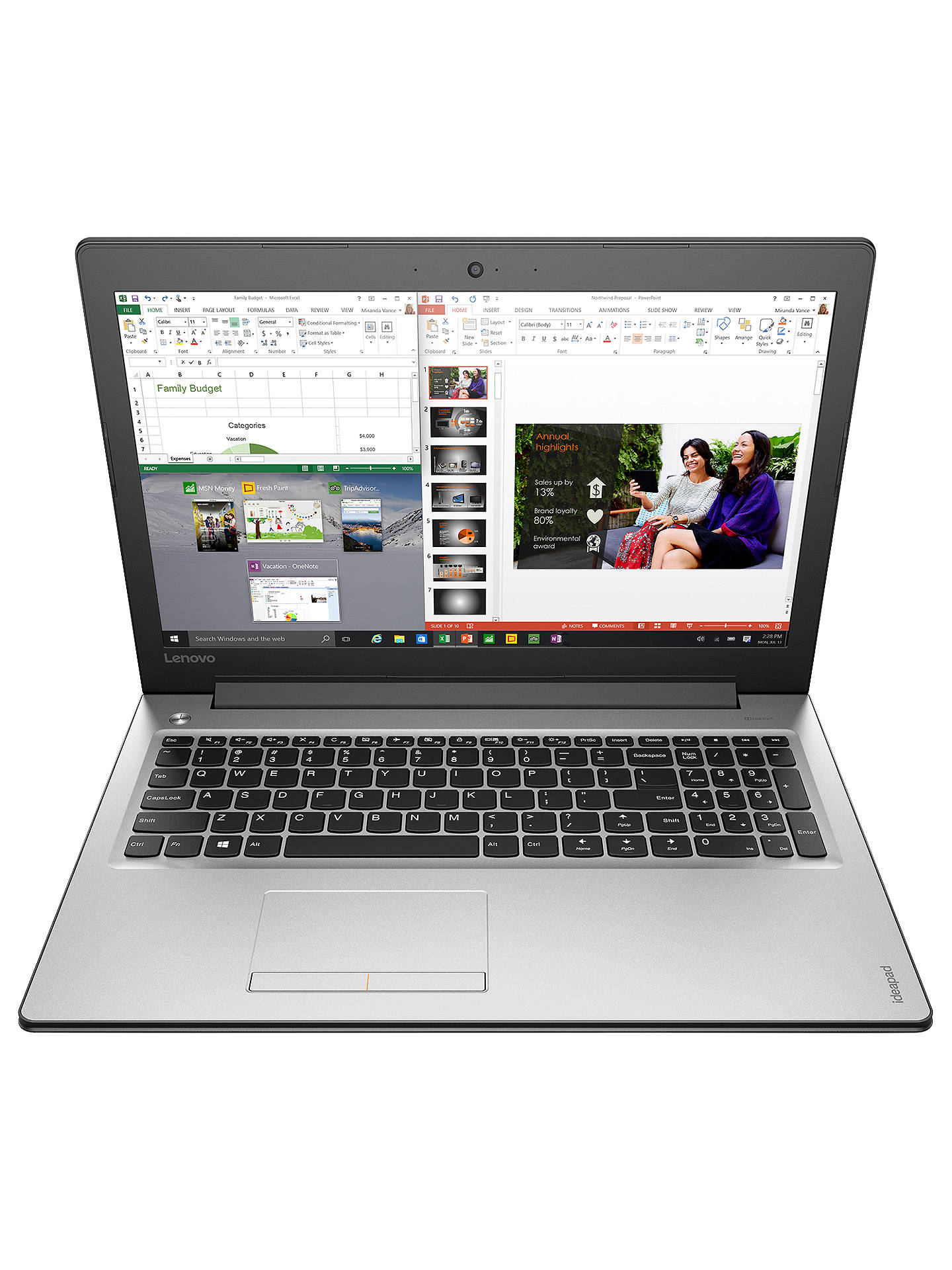 "76cab953effd Lenovo IdeaPad 310-15ISK Laptop, Intel Core i3, 4GB, 1TB, 15.6"", Silver"