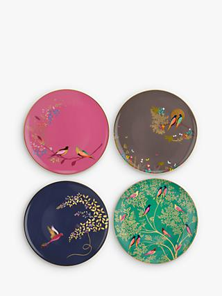 Sara Miller Chelsea Collection Birds Cake Plates, Dia.20cm, Assorted, Set of 4
