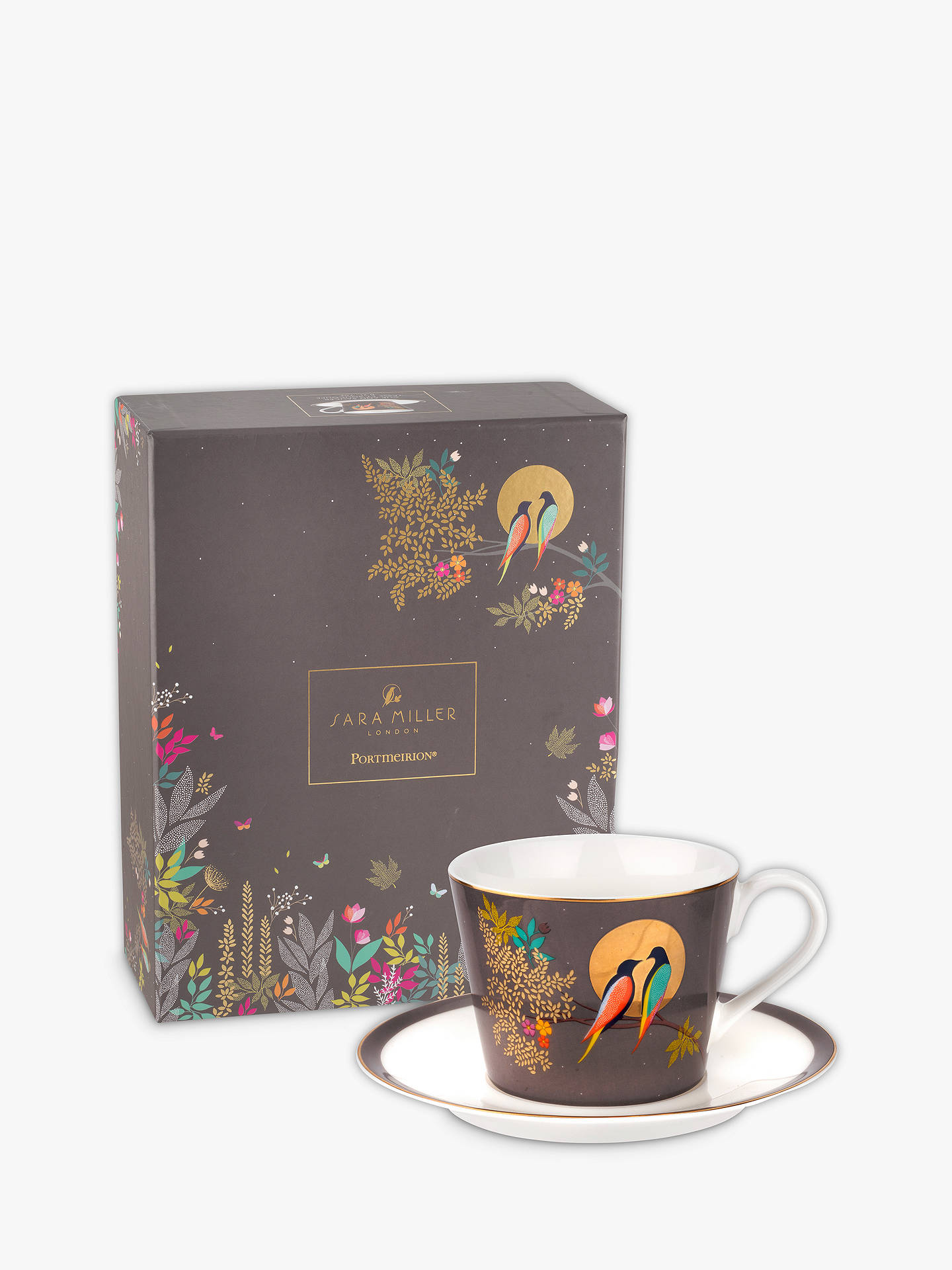 Buy Sara Miller Chelsea Collection Birds Cup and Saucer, 200ml, Grey Online at johnlewis.com