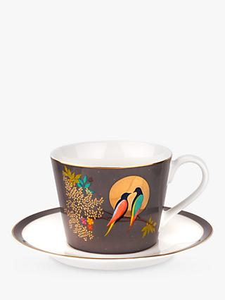 Sara Miller Chelsea Collection Birds Cup and Saucer, 200ml, Grey