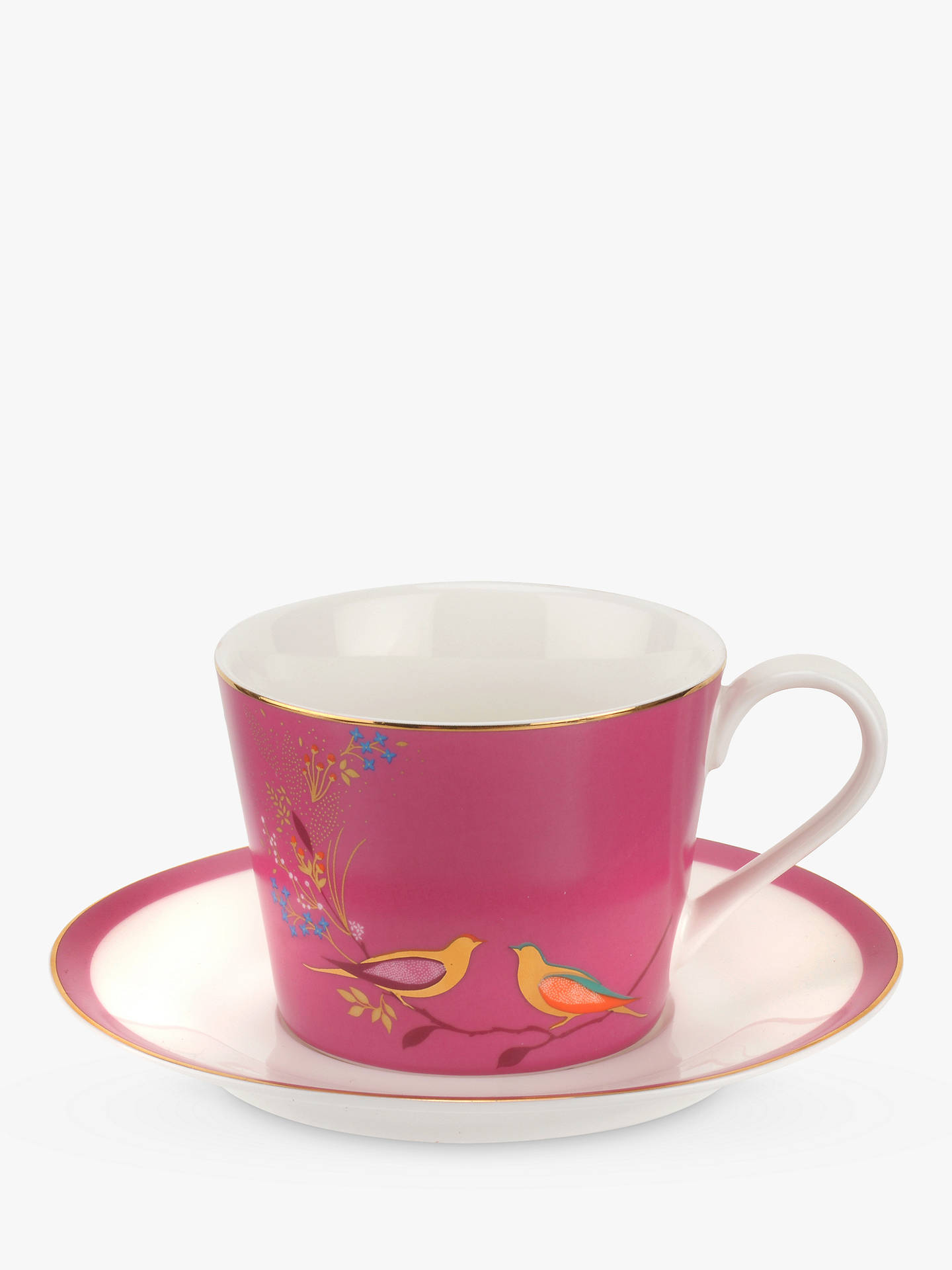Buy Sara Miller Chelsea Collection Birds Cup and Saucer, 200ml, Pink Online at johnlewis.com