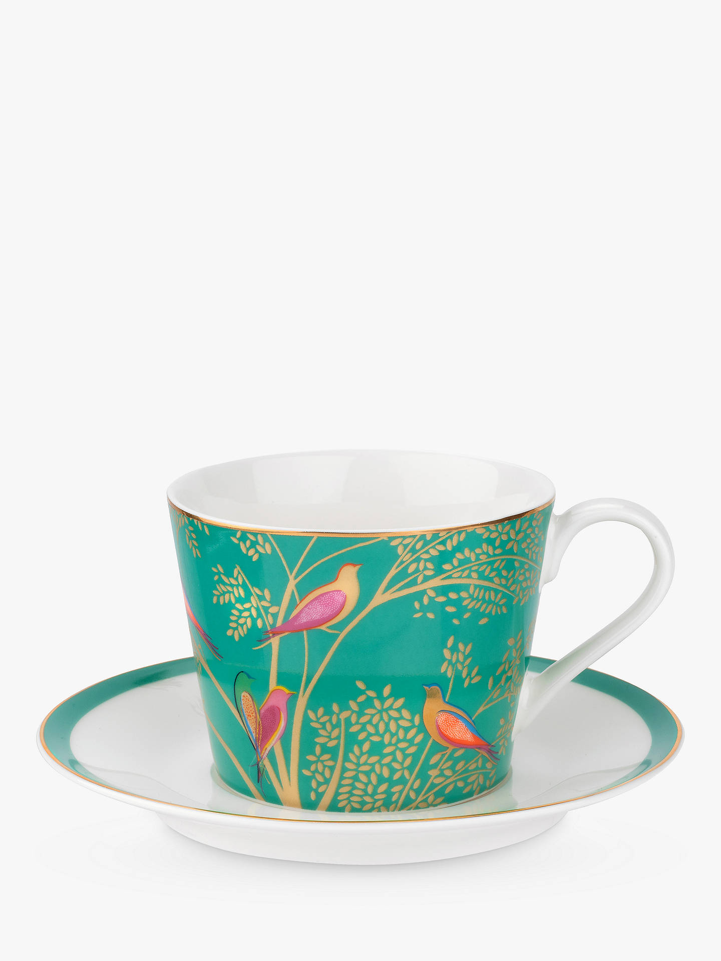 BuySara Miller Chelsea Collection Birds Cup and Saucer, 200ml, Green Online at johnlewis.com
