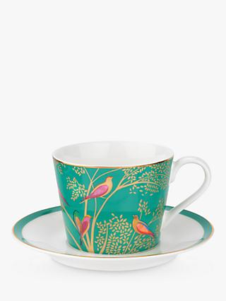 Sara Miller Chelsea Collection Birds Cup and Saucer, 200ml, Green