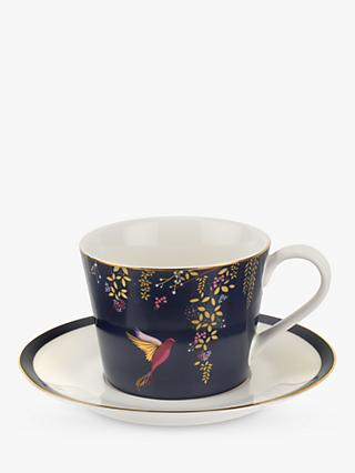 Sara Miller Chelsea Collection Hummingbirds Cup and Saucer, 200ml, Navy
