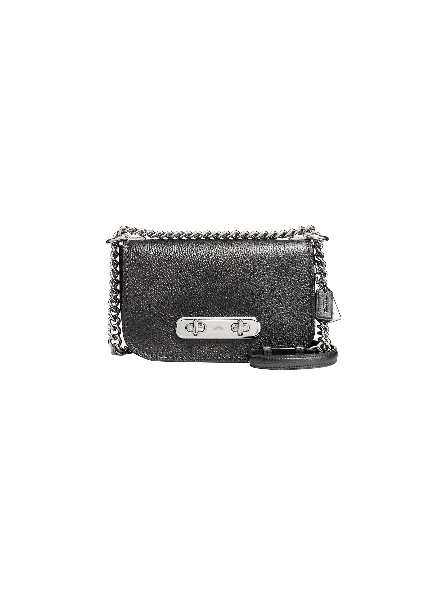 5861f6cbd Buy Coach Swagger Leather Shoulder Bag, Metallic Graphite Online at  johnlewis.com ...