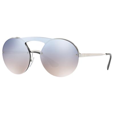 Prada PR 65TS Round Sunglasses, Silver/Mirror Grey