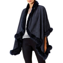 Buy Coast Kate Lynn Faux Fur Cape, Navy Online at johnlewis.com