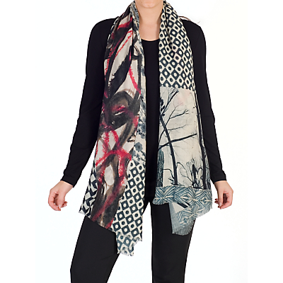 Chesca Abstract Patchwork Wool Silk Scarf, Black/Pink