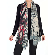 Buy Chesca Abstract Patchwork Wool Silk Scarf, Black/Pink Online at johnlewis.com