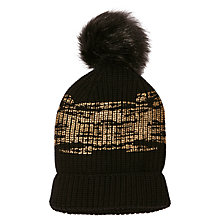 Buy Karen Millen Wool Metallic Knit Collection Bobble Hat, Black Online at johnlewis.com