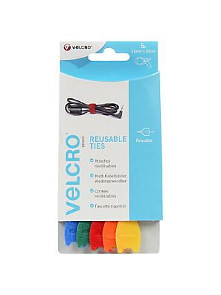 VELCRO® Brand ONEWRAP® Reusable Ties, 12mm x 20cm, Pack of 5