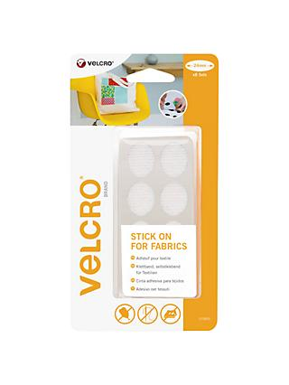 VELCRO® Brand Stick On Ovals For Fabrics, 24mm, Pack of 8, White