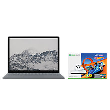 "Buy Microsoft Surface Laptop, Intel Core i7, 16GB RAM, 512GB SSD, 13.5"" PixelSense Display, Platinum and Microsoft Xbox One S Console, 500GB, with Wireless Controller and Forza Horizon 3 Hot Wheels Bundle Online at johnlewis.com"