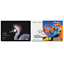 "Buy New Microsoft Surface Pro Tablet, Intel Core i7, 16GB RAM, 512GB SSD, 12.3"" Touchscreen and Microsoft Xbox One S Console, 500GB, with Wireless Controller and Forza Horizon 3 Hot Wheels Bundle Online at johnlewis.com"
