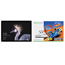 "Buy New Microsoft Surface Pro Tablet, Intel Core i7, 8GB RAM, 256GB SSD, 12.3"" Touchscreen and Microsoft Xbox One S Console, 500GB, with Wireless Controller and Forza Horizon 3 Hot Wheels Bundle Online at johnlewis.com"
