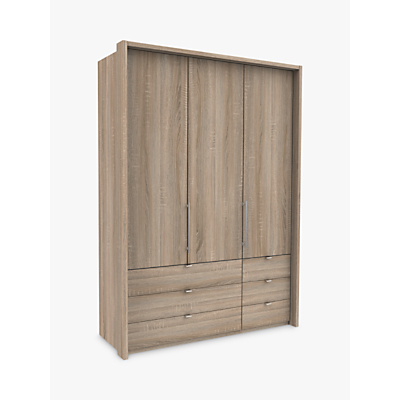John Lewis & Partners Pirna Bi Fold 150cm 3 Door Wardrobe with 6 Drawers