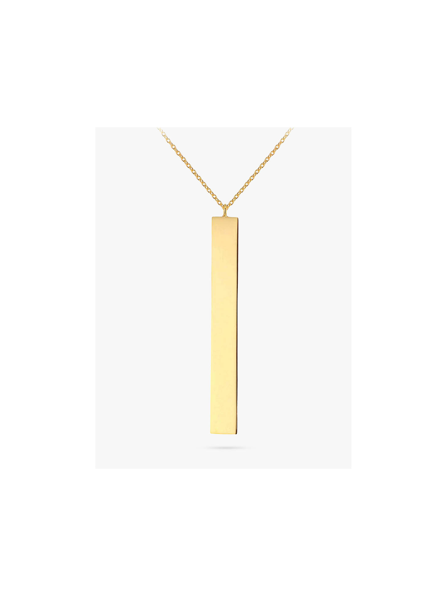 3173dc45429 Buy IBB Personalised 9ct Gold Vertical Bar Initial Pendant Necklace, Yellow  Gold Online at johnlewis ...