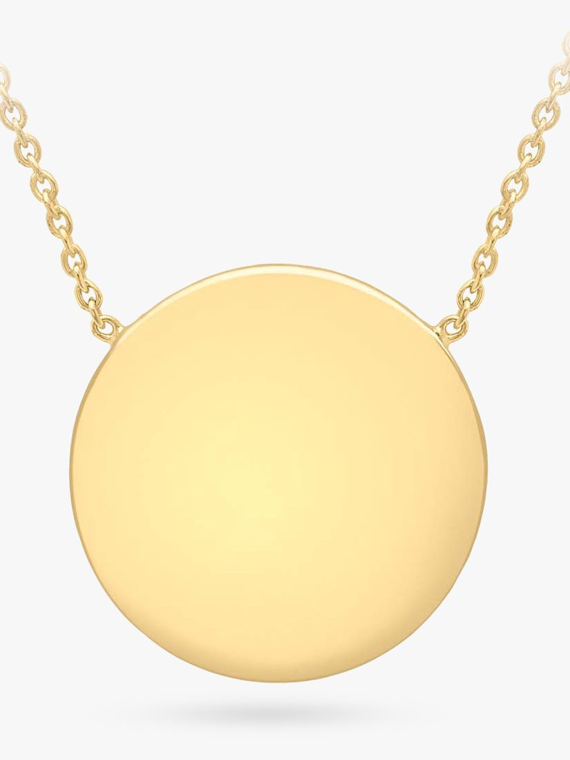 IBB Personalised 9ct Gold Disc Pendant Necklace Gold at John Lewis