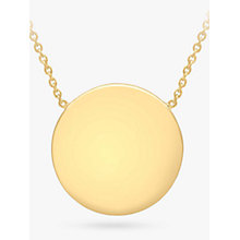 Buy IBB Personalised 9ct Gold Disc Pendant Necklace, Gold Online at johnlewis.com