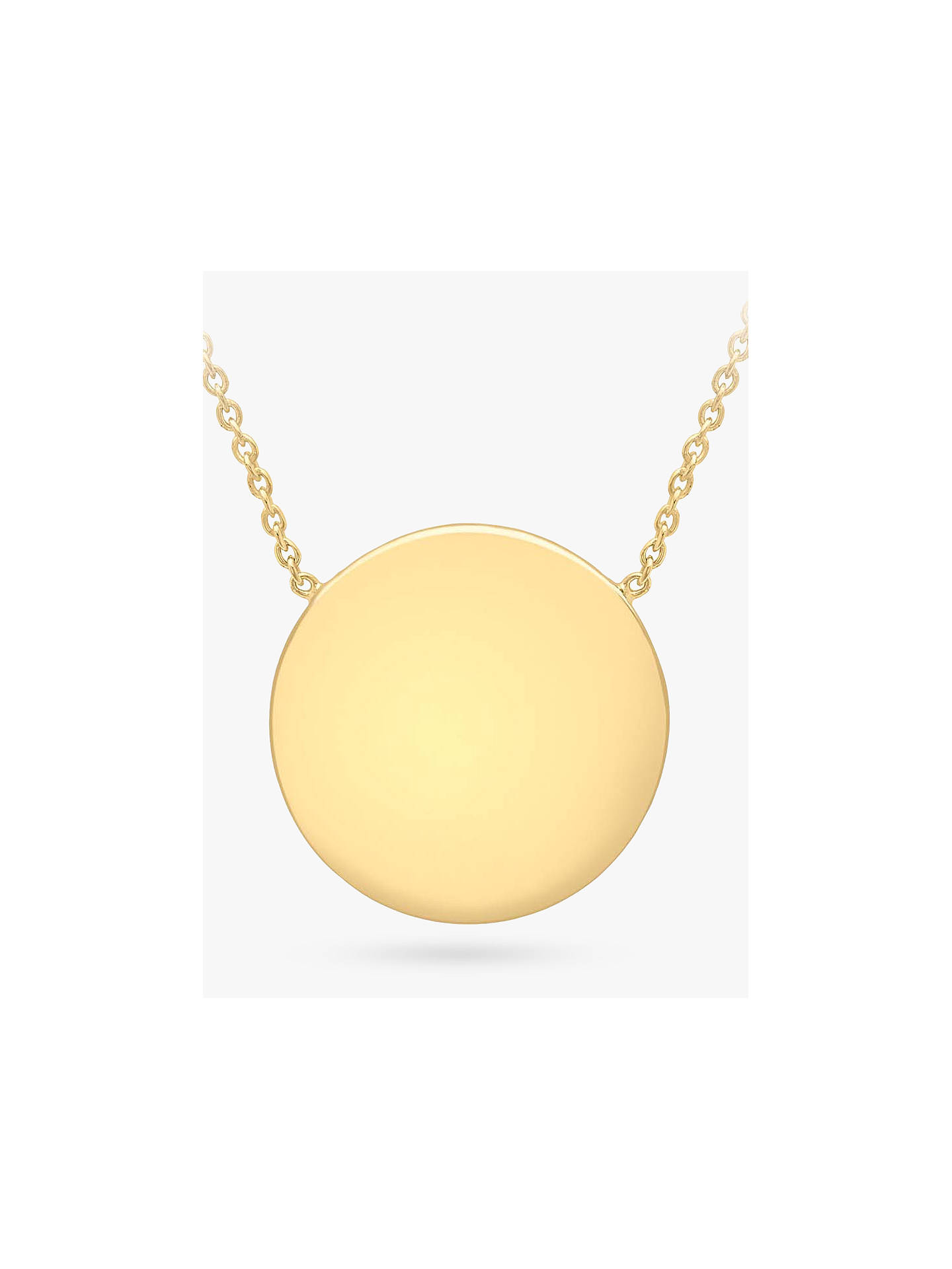 c15ee63920787 IBB Personalised 9ct Gold Disc Pendant Necklace, Gold