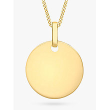Buy IBB Personalised 9ct Gold Disc Initial Pendant Necklace Online at johnlewis.com
