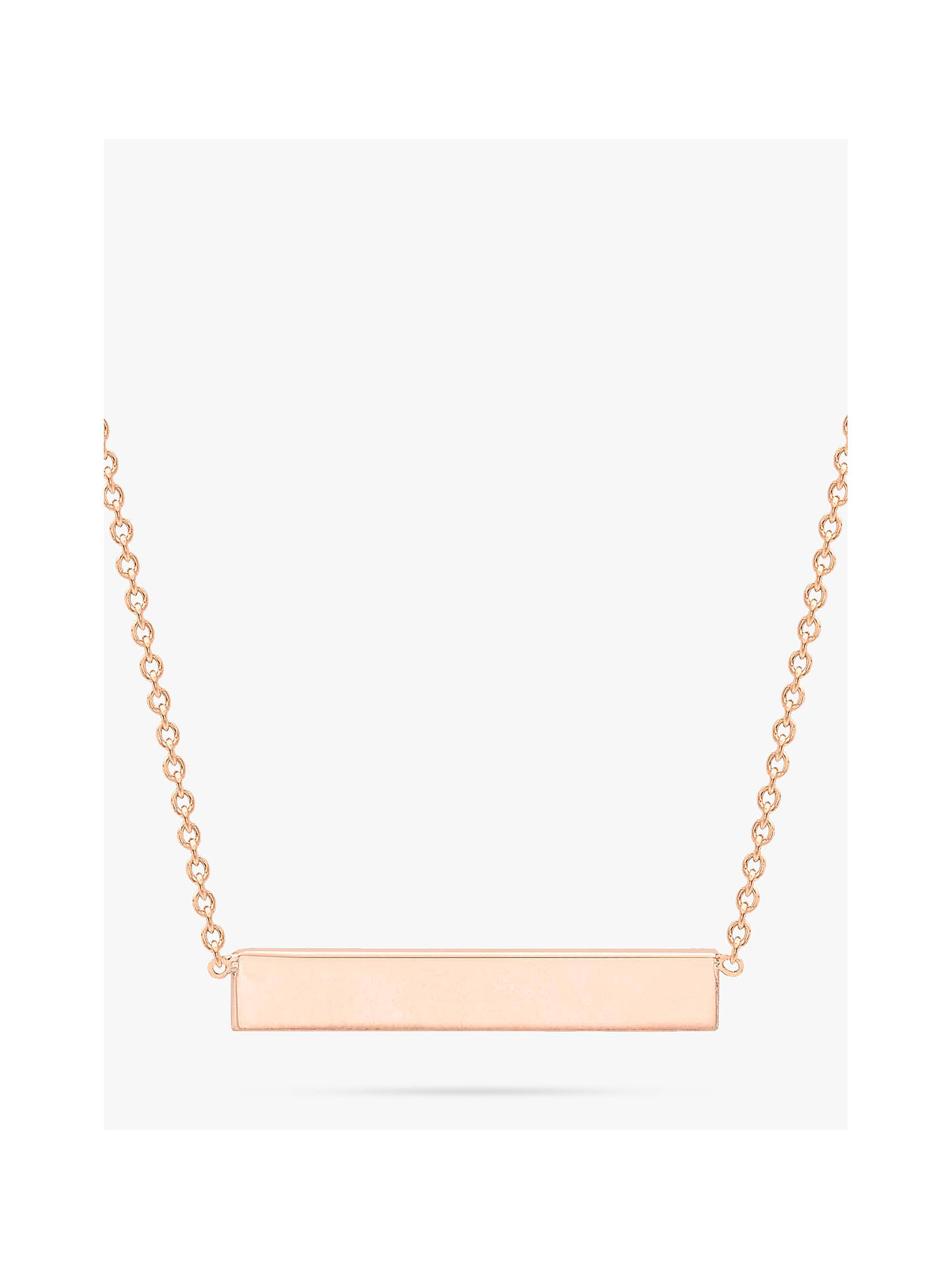 BuyIBB Personalised 9ct Gold Horizontal Bar Initial Pendant Necklace, Rose Gold Online at johnlewis.com