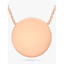 Buy IBB Personalised 9ct Rose Gold Disc Initial Pendant Necklace Online at johnlewis.com