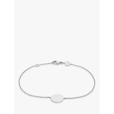 IBB Personalised 9ct White Gold Disc Initial Chain Bracelet