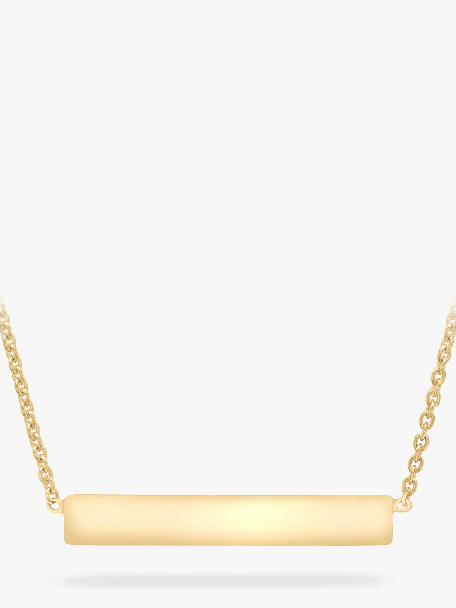 IBB IBB Personalised Small Horizontal Bar Initial Pendant Necklace, Gold