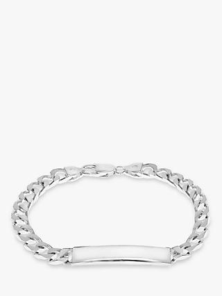 IBB Personalised Sterling Silver ID Curb Chain Bracelet, Silver