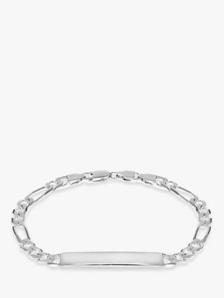IBB Personalised Sterling Silver ID Figaro Chain Bracelet, Silver
