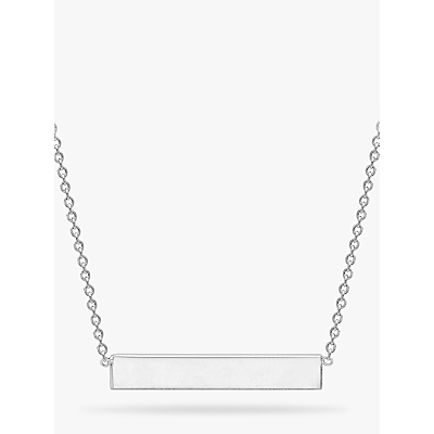 IBB Personalised Small Horizontal Bar Initial Pendant Necklace, Silver