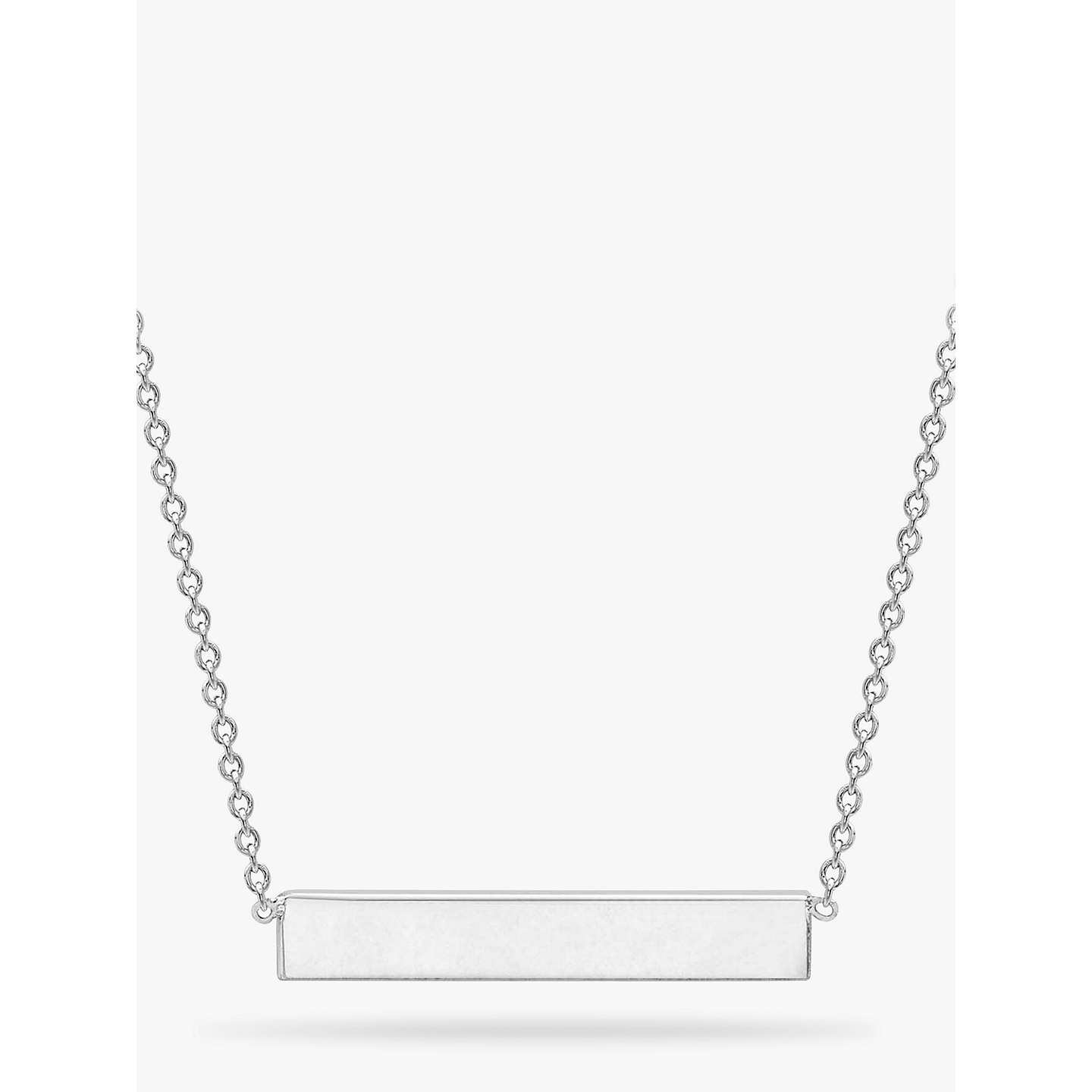 BuyIBB Personalised Small Horizontal Bar Initial Pendant Necklace, Silver Online at johnlewis.com