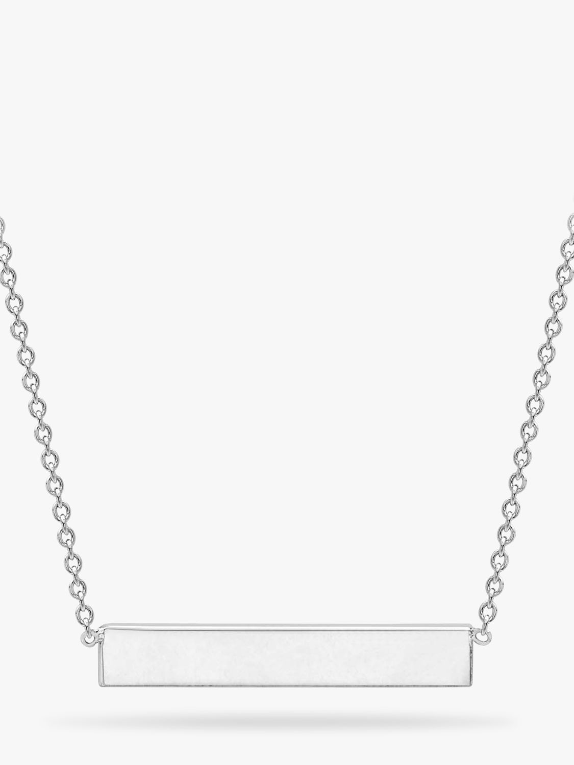 IBB IBB Personalised Small Horizontal Bar Initial Pendant Necklace, Silver
