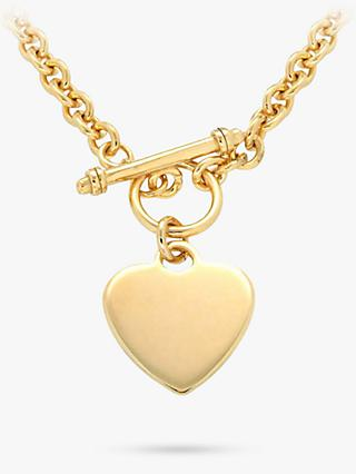 IBB Personalised Chunky Chain Heart Necklace, Gold