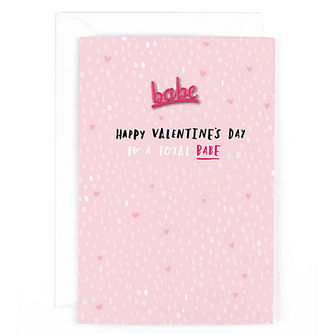 Buy Hotchpotch Babe Pin Badge Valentineu0027s Day Card Online At Johnlewis. ...