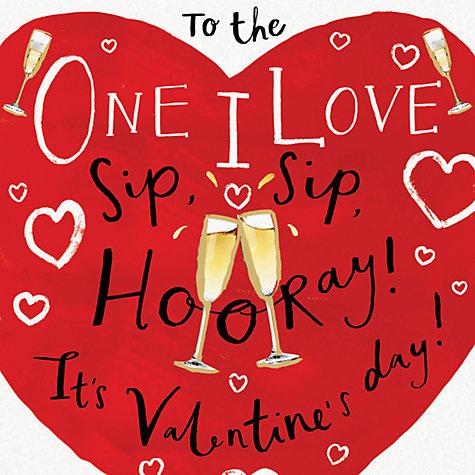 buy cardmix sip sip hooray valentines day card online at johnlewis - Online Valentines Day Cards