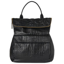 Buy Whistles Verity Croc Leather Backpack, Black Online at johnlewis.com