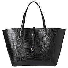 Buy Whistles Shaftesbury Croc Leather Tote Bag, Black Online at johnlewis.com