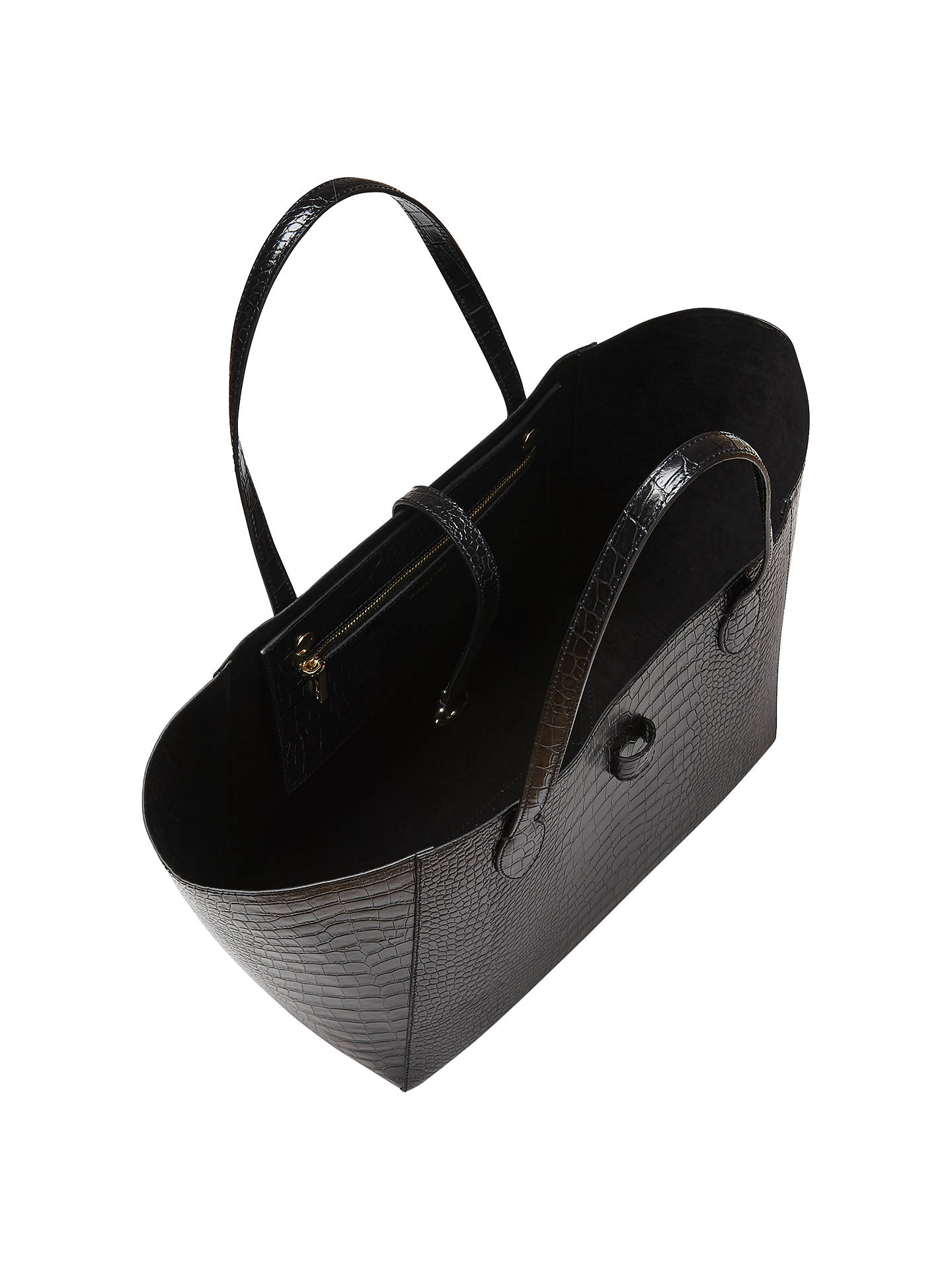 BuyWhistles Shaftesbury Croc Leather Tote Bag, Black Online at johnlewis.com