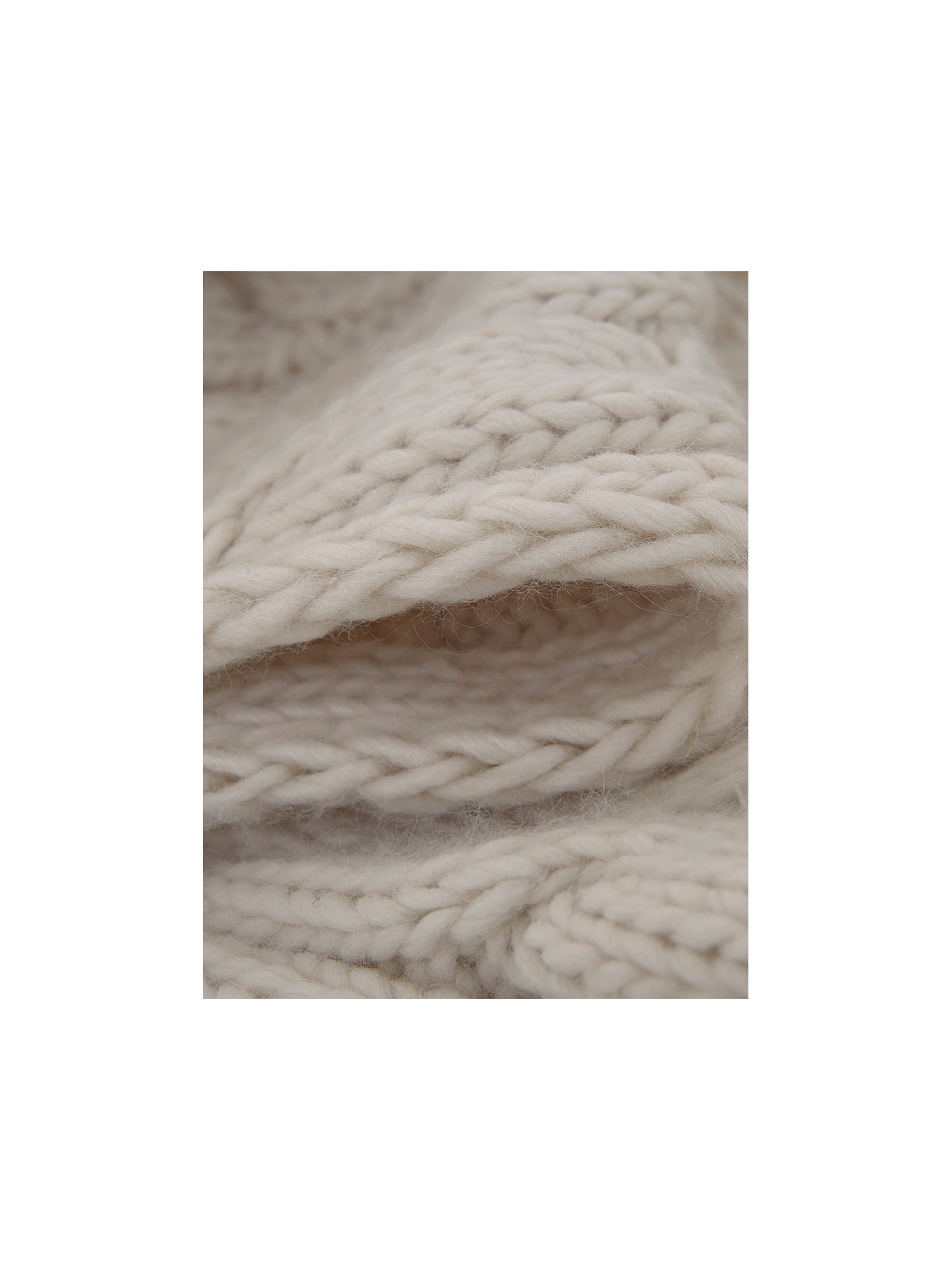 ade808ad52 ... Buy Mint Velvet Cable Pom Pom Scarf, Oatmeal Online at johnlewis.com ...
