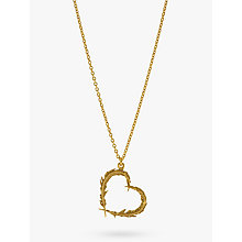 Buy Alex Monroe Feather Heart 22ct Gold Necklace, Gold Online at johnlewis.com