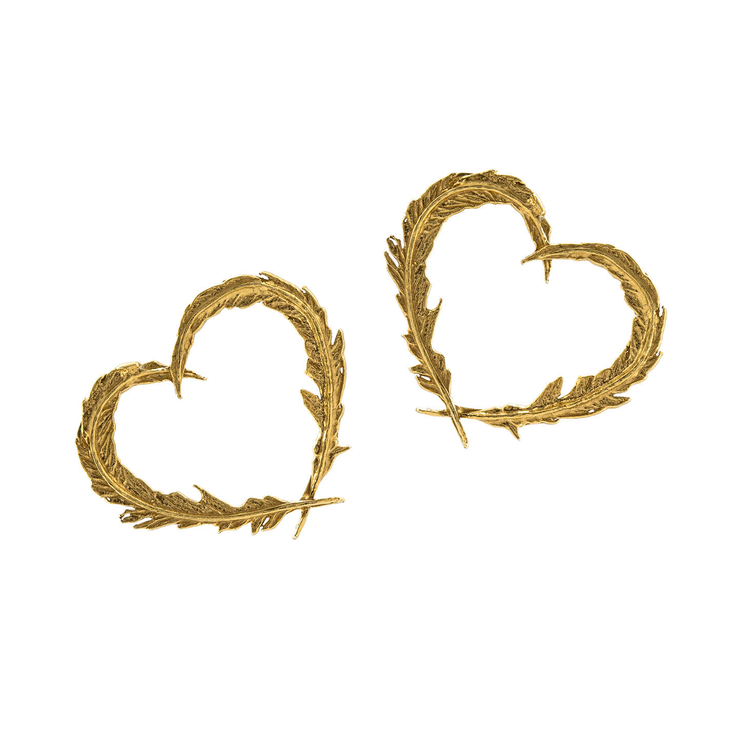 Alex Monroe 22ct Gold Vermeil Feather Heart Stud Earrings Online At Johnlewis