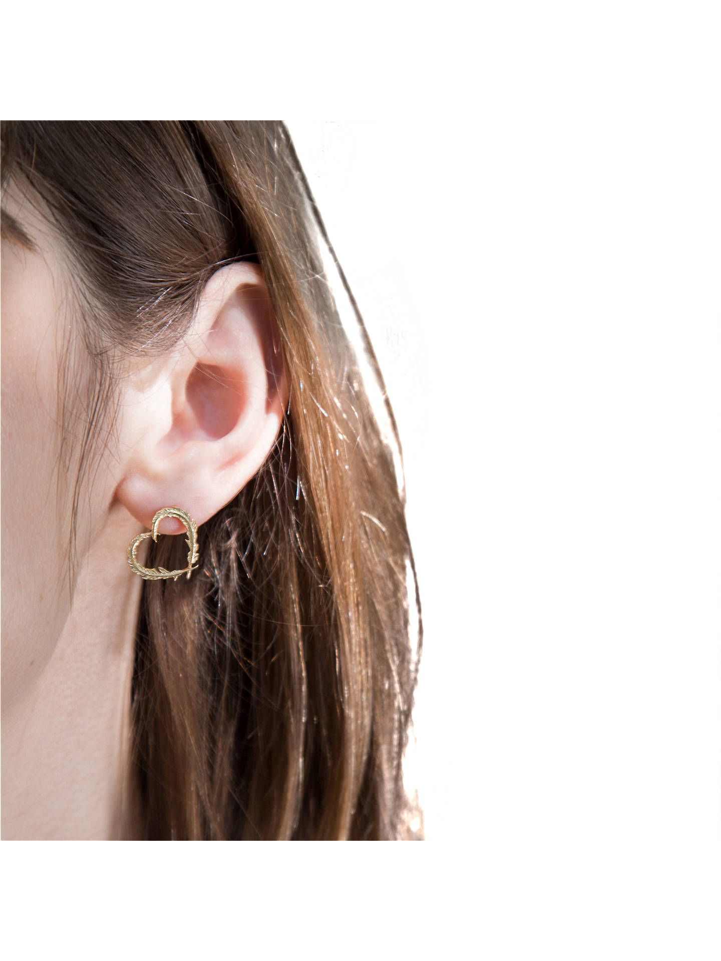 Buy Alex Monroe 22ct Gold Vermeil Feather Heart Stud Earrings, Gold Online at johnlewis.com