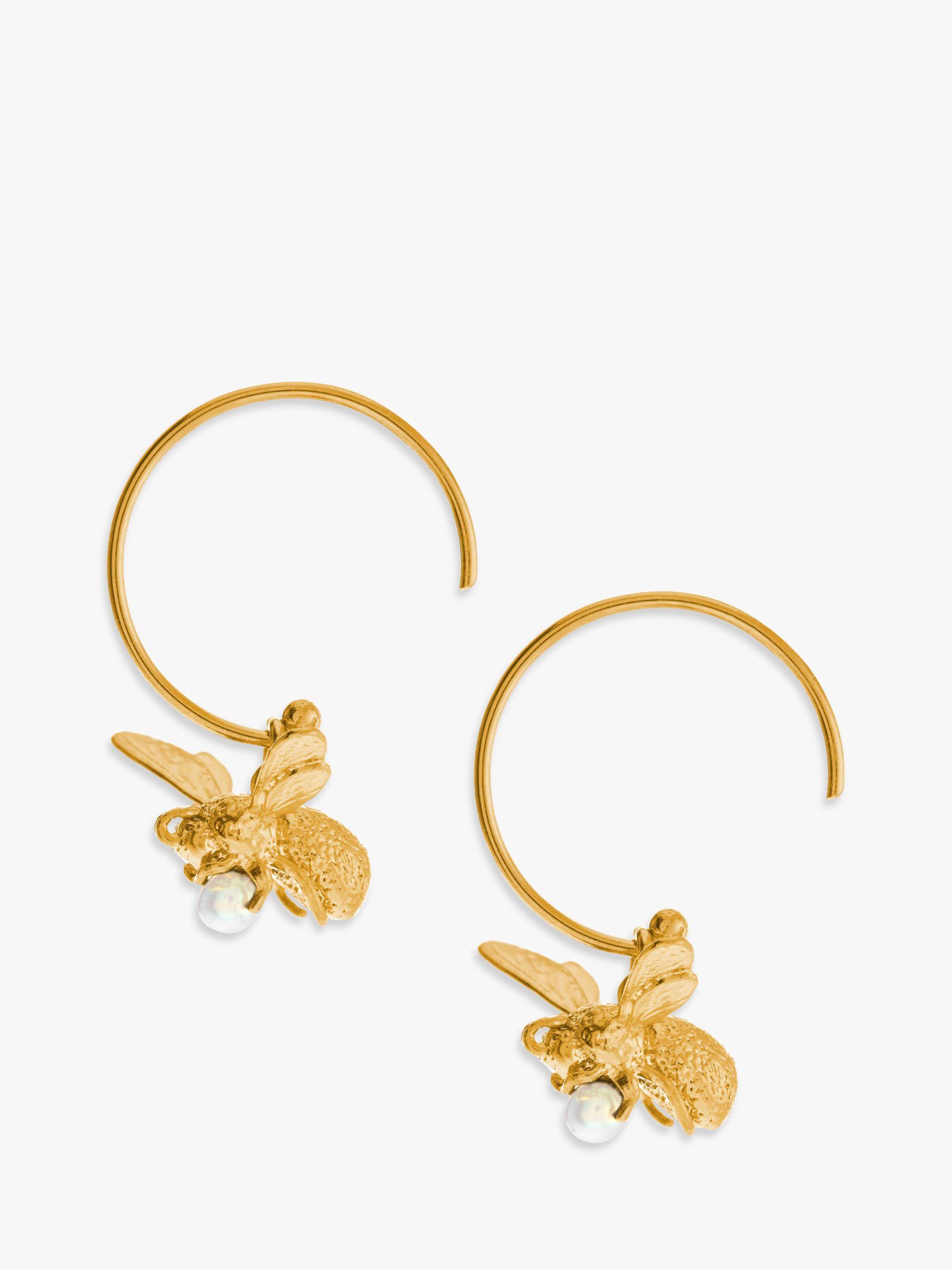 Alex Monroe Alex Monroe 22ct Gold Vermeil Flying Bee Freshwater Pearl Hoop Earrings, Gold