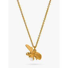 Buy Alex Monroe Fly Bee Pearl 22ct Gold Necklace, Gold Online at johnlewis.com