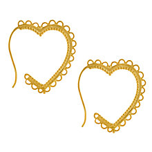 Buy Alex Monroe 22ct Gold Vermeil Lace Edge Heart Hoop Earrings, Gold Online at johnlewis.com