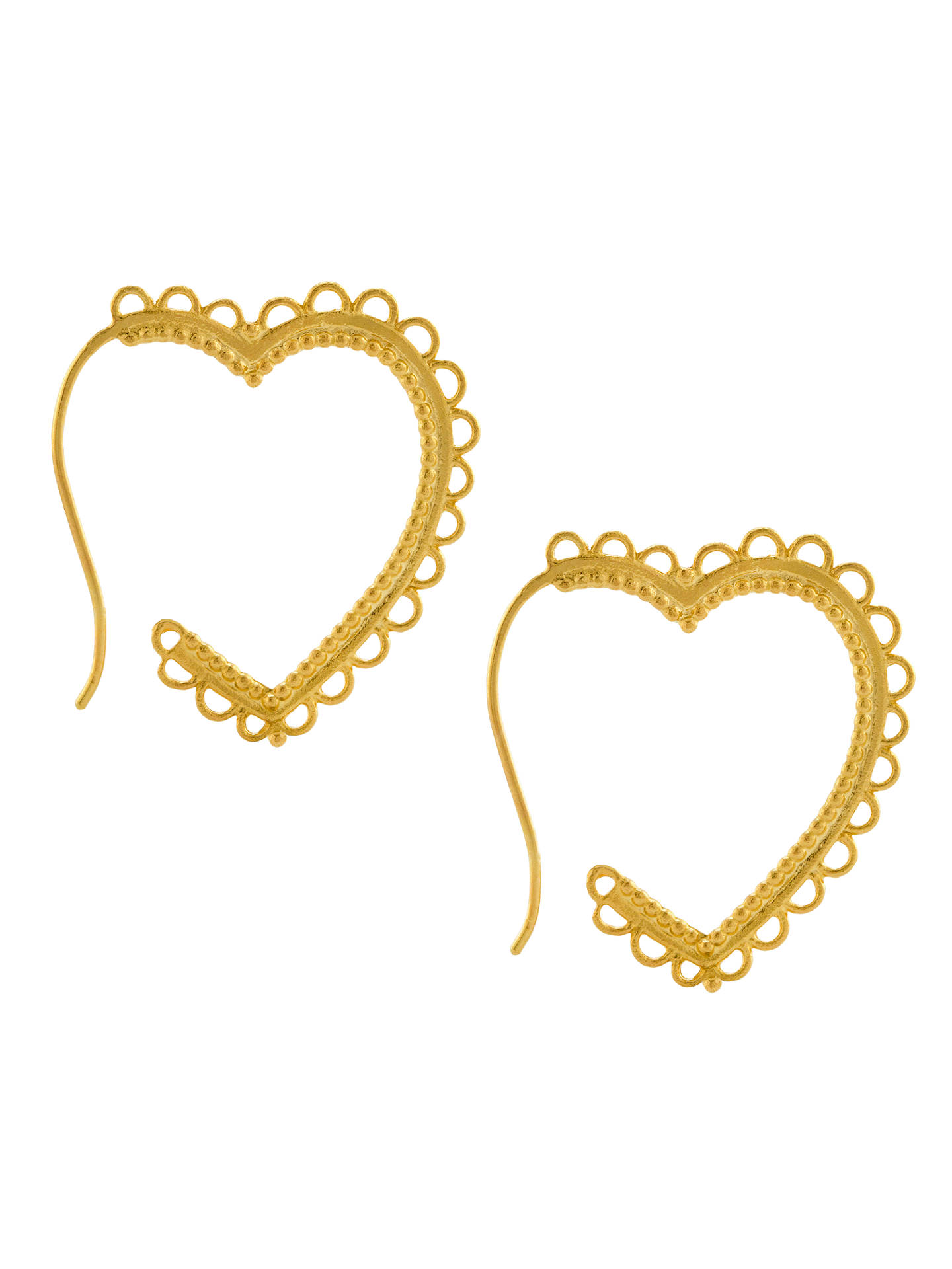 BuyAlex Monroe 22ct Gold Vermeil Lace Edge Heart Hoop Earrings, Gold Online at johnlewis.com