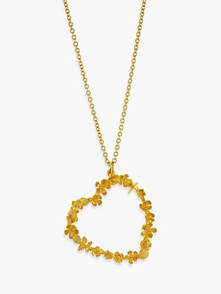 Alex Monroe 22ct Gold Plated Sterling Silver Floral Heart Pendant Necklace, Gold
